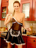 Cute face ten model in hot black lacy leather skirt have sexy fun in the kitchen