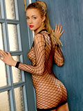 Wow thats hot linda in extreme fishnet dress makes me feel loaded and horny indeed