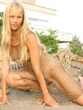 Sexy teen hottie ljuba pulls off her dress made of netting look at those puffy nipples