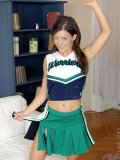 Sexy teen cheerleader prances around doing cheers and then gets buck naked for you