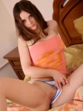 Lovely Makayla having some nice time to relax in her cozy bedroom with her clothes strip off