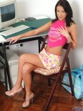 Cutie nicole hangs out at her desk and gets hot and bothered staring to play with herself