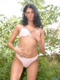 Small titted ola get her bra stripped off outside