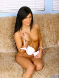 Totally naked persia naughtily hides her cute nipples with her hands