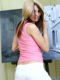 Horny blonde rusanna stripping off her pink tops after a brief painting session