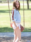 Cute teen tabitha has some fun on the swings flashing and peeking out her small cute boobies too