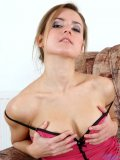 Great boobied hot tajza loves spreading on sofa