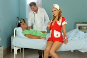 Helpful blond nurse double penetrated in red shoes