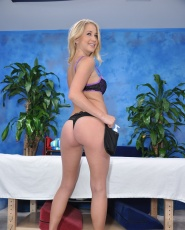 Cute 18 year old massage therapist Casi gives a little more than a massage!