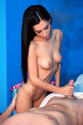 Goreous 1 year old brunette gives a massage and an erotic release!
