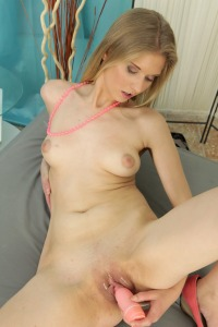 Pretty blonde teases her pussy with a dildo