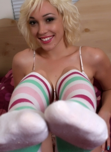 SpunkyAngels: Sexy blonde tease Lily Labeau strips down to just her striped knee high socks