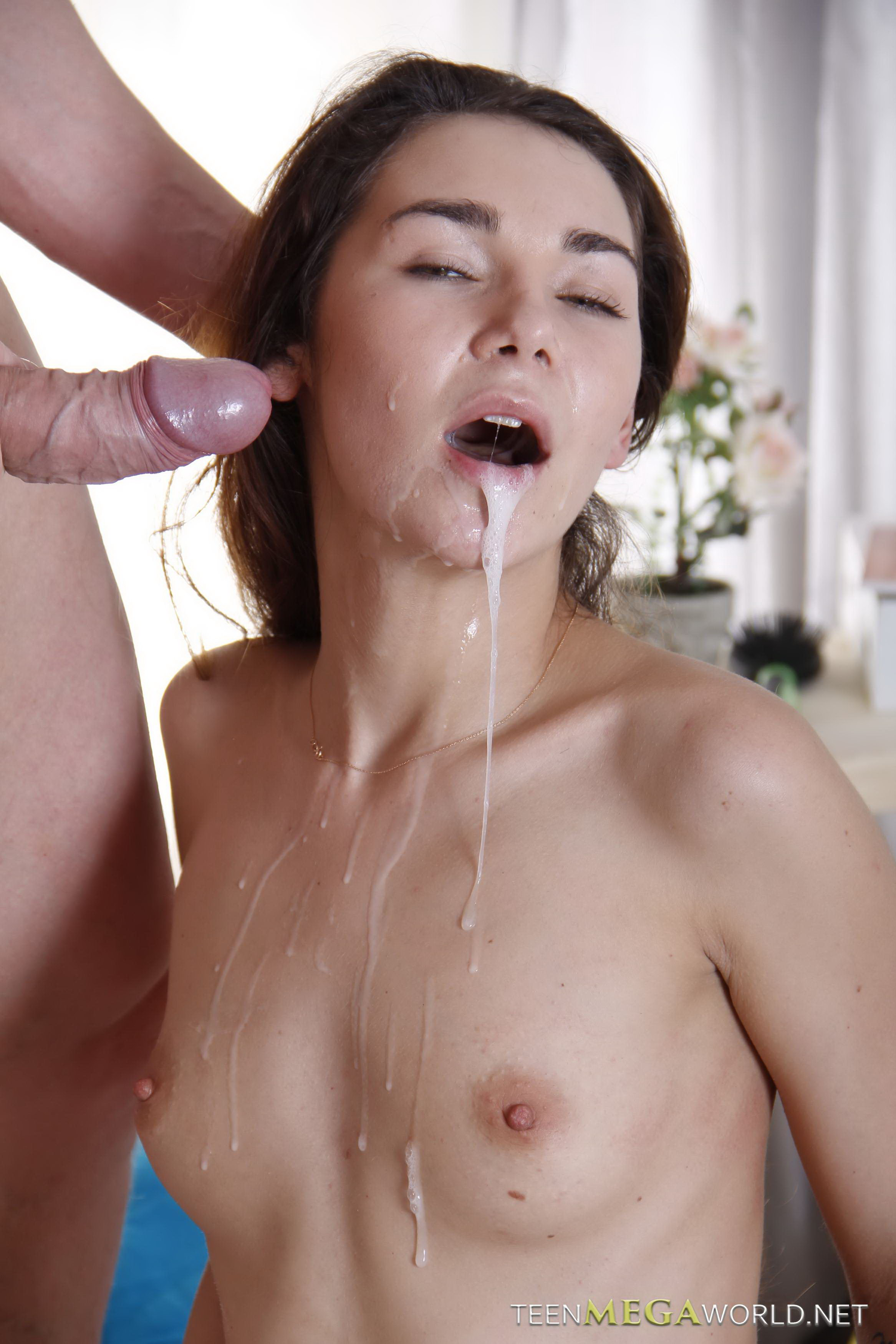 Teen Girl Covered In Cum