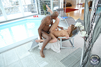 Steamy blonde Alexis Crystal satisfies her black BF with creampie fuck
