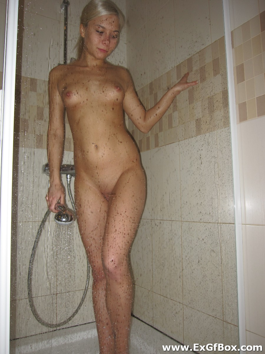 Naked young girls showering mine