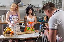 Two naughty chefs fuck when shooting culinary video blog