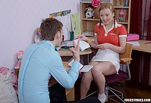 Pigtailed student learning how to fuck