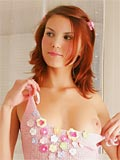 Redhead Teen Shows Pink