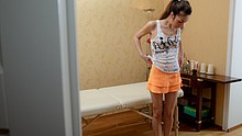 Slim beauty gets aroused