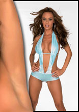 Brunette hottie, Crissy Moran, looks stunning in her slinky blue bathing suit showing off her big boobs and body, and looks even better out of it!