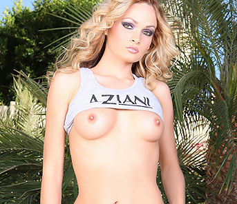 Sexy petite blonde, Prinzzess, is smoking hot in her tight Aziani tank top and long white skirt and looks even better flashing her boobs and sweet pussy!