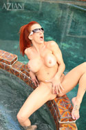 Shannon Kelly gets her Aziani clothes wet in the pool. Better to take them off so that they can get dry again, right?