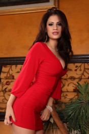 Vanessa Veracruz strips out of her hot red dress and panties.