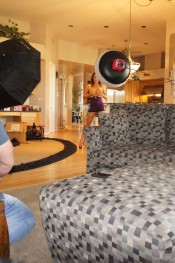 Some behind the scenes footage of sweet, sassy and sexy busty brunette, Danni Cole, as she spends the day shooting with the Aziani crew.