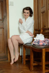 Victoria slips off her cute pajamas, white panties & white ankle socks